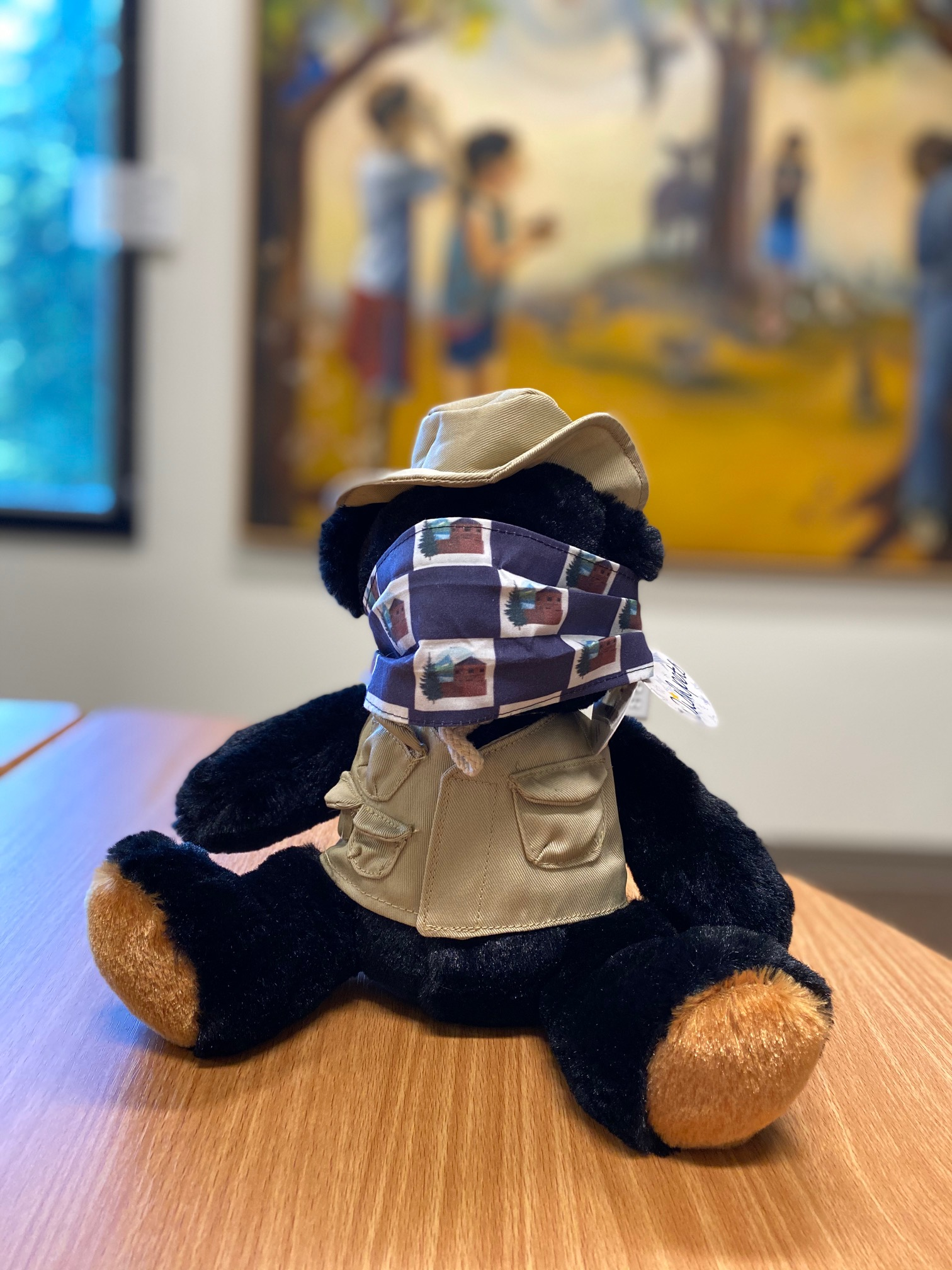 Ranger bear with mask covering mouth