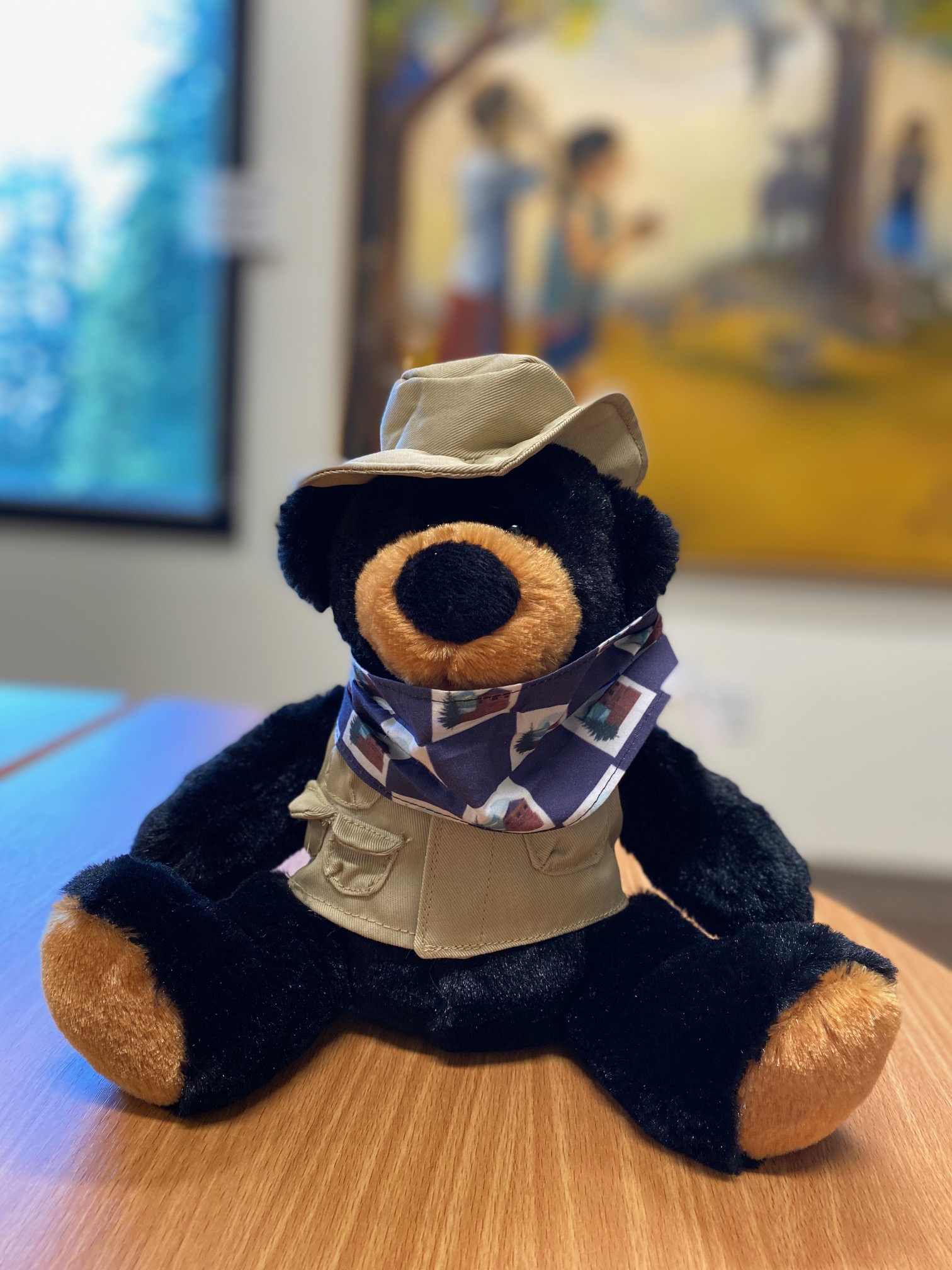 Ranger bear with removable mask down
