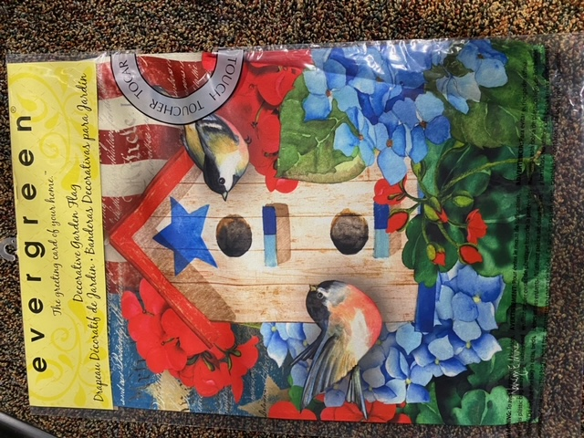 Patriotic birdhouse - decorative garden flag