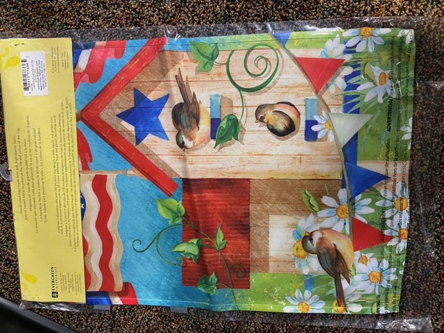 Patriotic birdhouse party - decorative garden flag
