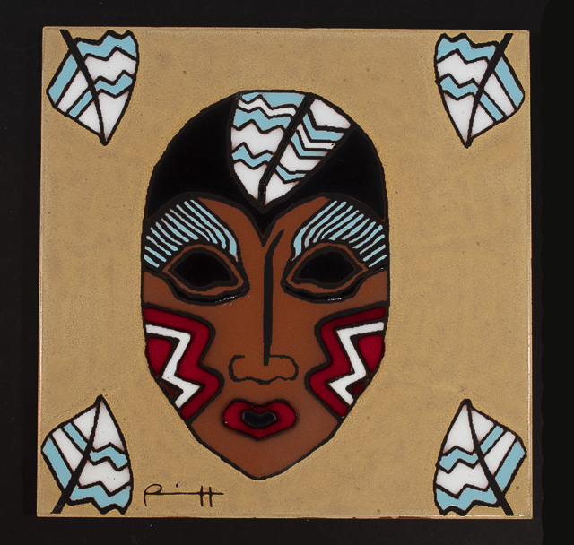 "Feather Woman - 8"" x 8"" tile by Lillian Pitt"