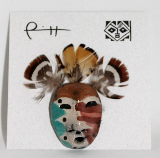 Native American Artist Lillian Pitt Stick Indian Mask Pin /Brooch