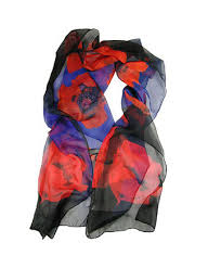 SILK Poppy Flower Remembrance Scarf