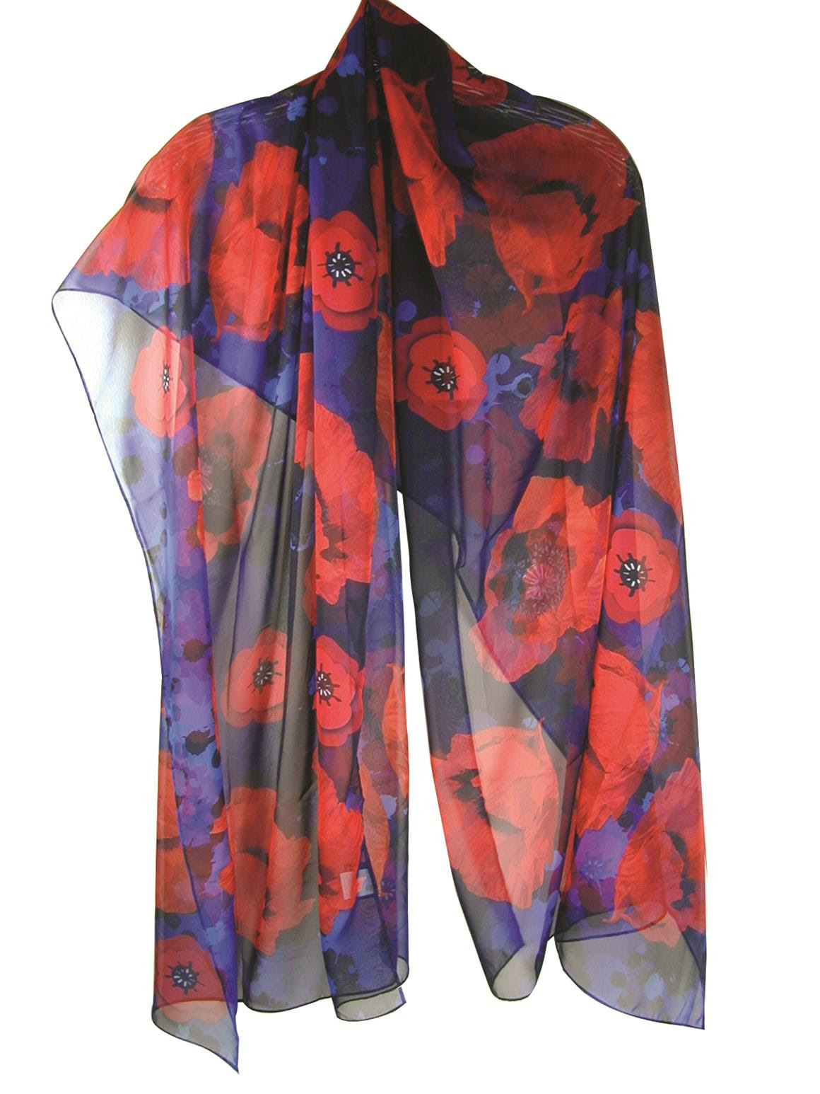 Poppy Flower Shawl Remembrance by Boston Exclusives