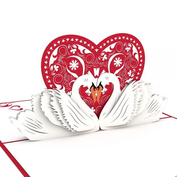 Swans popup lovepop PopUp greeting card