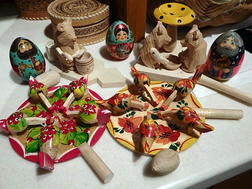Hand carved wooden Russian toys from Chkalovsk region.