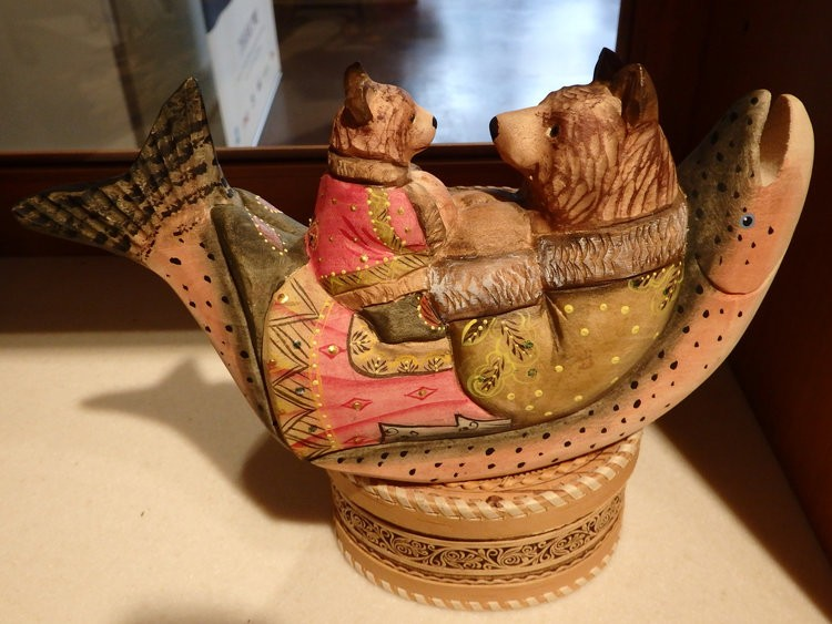 Bears on Fish, hand carved wooden figurine with intricate painted details in Chkalovsk style