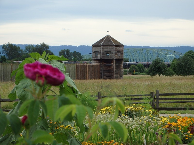 View of the reconstructed Fort Vancouver from the Heritage Garden.