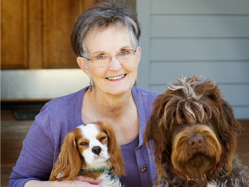 Jane Kirkpatrick with her dogs