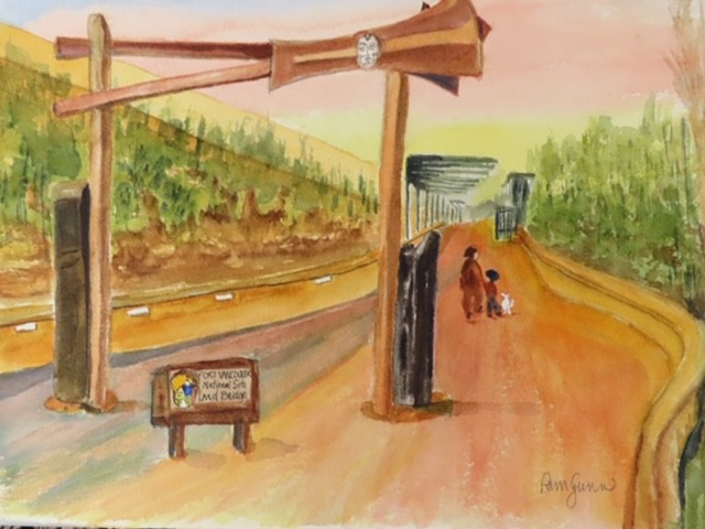 Watercolor of the Land Bridge - by Pamela Gunn