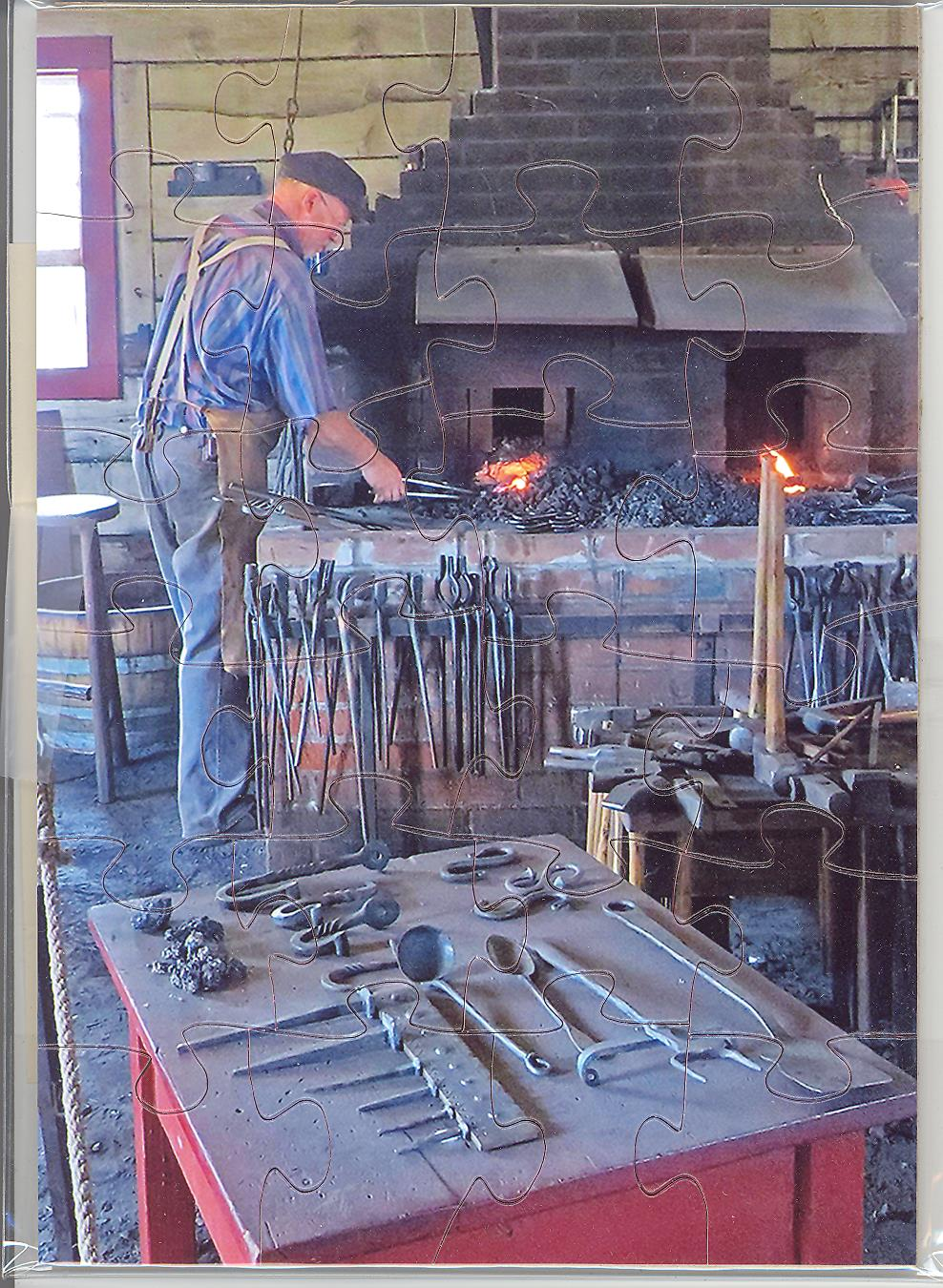 Blacksmith at Fort Vancouver Puzzle Postcard by Pam Gunn
