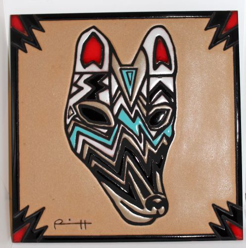 "COYOTE Tile 8""x8"" by Lillian Pitt Ceramic"