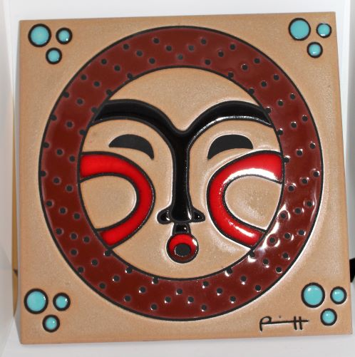 "Grandmother Moon 8""x8"" Ceramic Tile by Lillian Pitt"