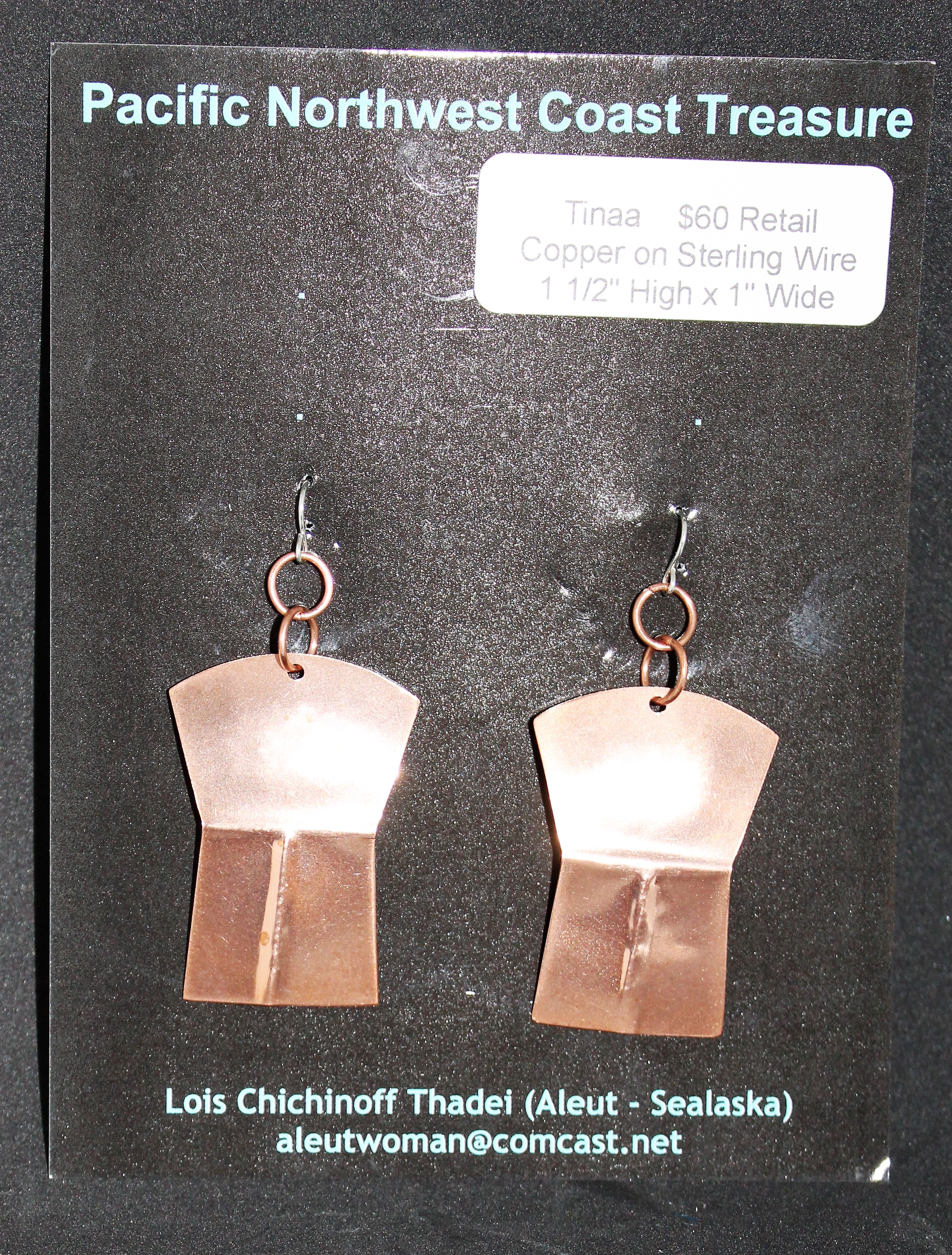 "Native American Copper Earrings on Sterling Wires ""Tinaa"""