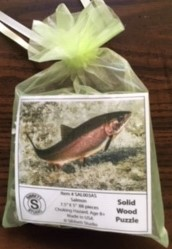 "Solid Wood Puzzle Salmon 7.5"" x 5"" Made in USA 88 pieces"