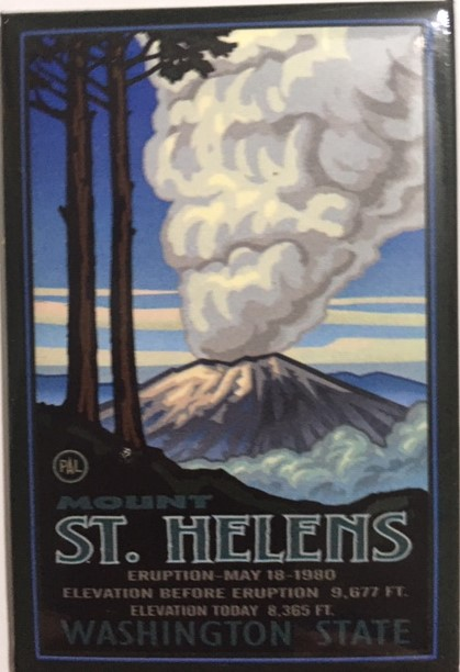 Mount St. Helens Under Eruption Metal Magnet - Washington State