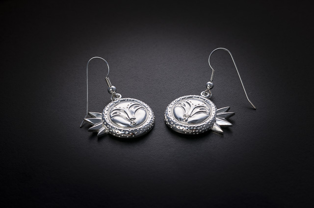 Solar Eclipse Sterling Silver Earrings by Lillian Pitt (Limited Edition)