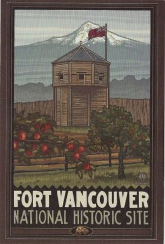 Fort Vancouver  & Apple Trees Metal Magnet