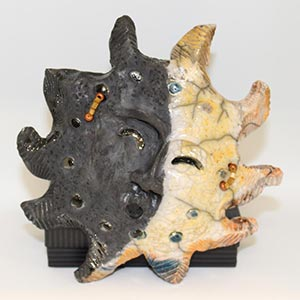 "Artist Lillian Pitt's ""Eclipse Over Warm Springs Tribe"" Raku Mask"